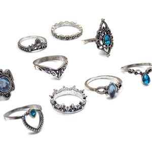 Set of 10 Beautiful Blue and Silver Stacking Rings
